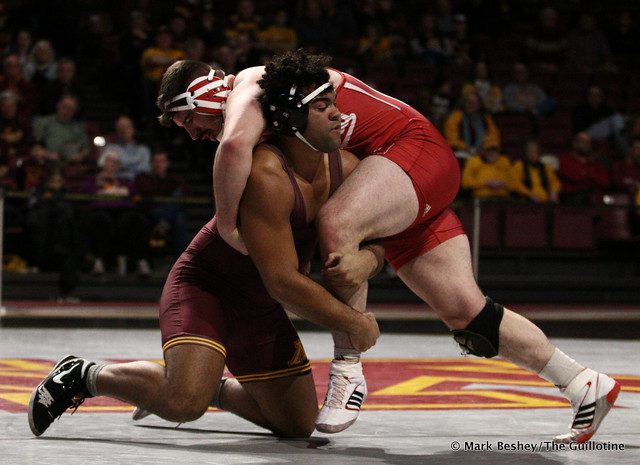 Hwt: #1 Gable Steveson (Minnesota) tech fall Fletcher Miller (Indiana) 20-5. 190217AMK0174