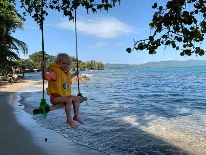 Swinging over the ocean