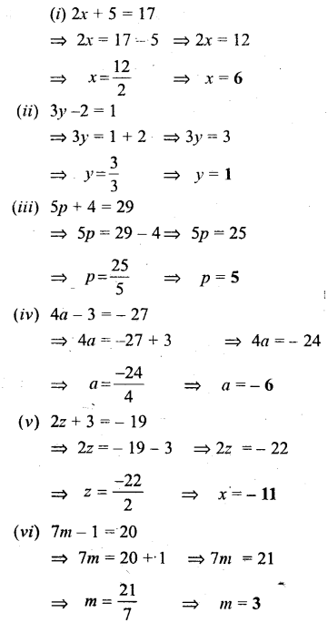 Selina Concise Mathematics Class 6 ICSE Solutions - Simple (Linear) Equations (Including Word Problems) - b1s.