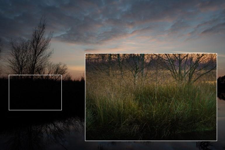 Om een idee te hebben tot hoe ver donkere delen in een foto gecorrigeerd kunnen worden, laat deze uitsnede zien.