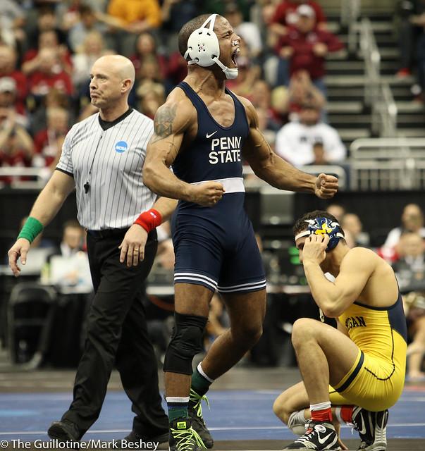 Semifinal - Mark Hall (Penn State) 30-0 won in tie breaker - 1 over Myles Amine (Michigan) 20-4 (TB-1 2-1) - 190322dmk0129