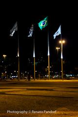 Flags at night