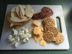 Cheese, sausage and cracker snack with apple slices #nutcrackers  #gf #glutenfree