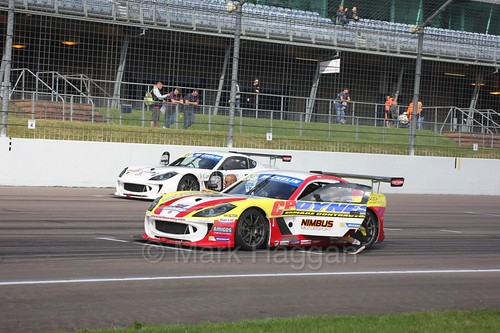 Carl Boardley in the Ginetta GT4 Supercup at Rockingham, August 2016