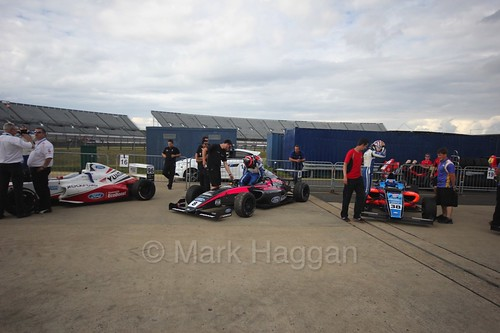 Some of the drivers before the British F4 race at Rockingham, August 2016