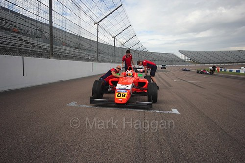 Jack Martin on the grid in British F4 at Rockingham, August 2016