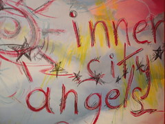 Inner City Angels mural, a pastel drawing on wall