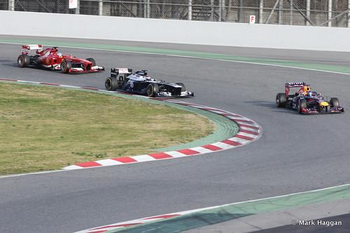 Sebastian Vettel, Valterri Bottas and Fernando Alonso on track at Formula One Winter Testing, March 2013
