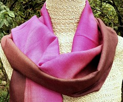 Eri Silk Scarf, Pink & Brown--$40