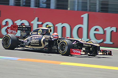 Romain Grosjean in his Lotus F1 car during the 2012 European Grand Prix in Valencia