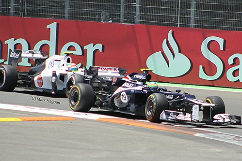Bruno Senna in his Williams F1 car being followed by Sergio Perez in his Sauber during the 2012 European Grand Prix in Valencia