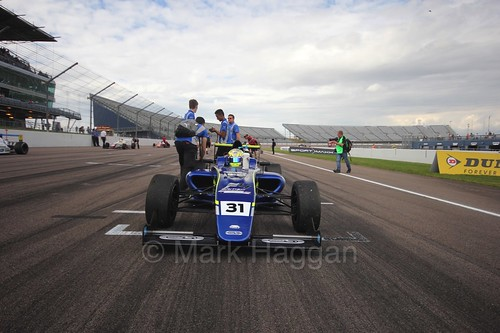 Max Fewtrell on the British F4 grid at Rockingham, August 2016