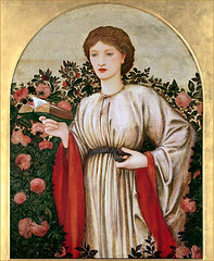 Edward Burne-Jones  'Girl with Book with Roses Behind' (undated 19th century)