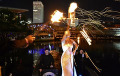 Ballerina receives the flame to lite the Ring of Fire