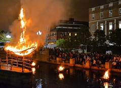 Audience views Fire Sculpture by Donna Dodson