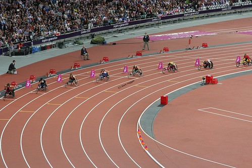 The start of the final of the women's T34 200m at the London 2012 Paralympic Games
