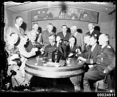 German naval officers and officials drinking a...