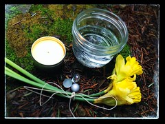 Imbolc Altar (alisonleighlilly) Tags: outdoor altar pagan imbolc offerings druidry uploaded:by=flickrmobile flickriosapp:filter=nofilter