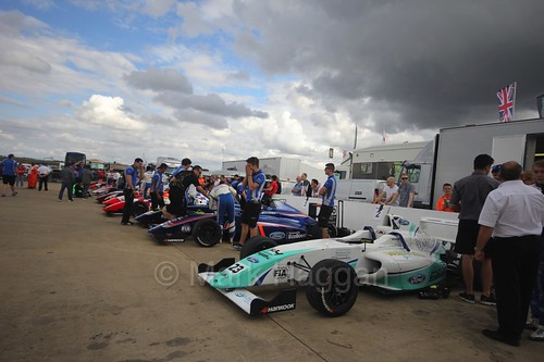 The British F4 assembly area at Rockingham, August 2016
