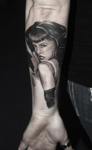 David Black and Gray Bettie Paige pinup portrait tattoo Houston, tx