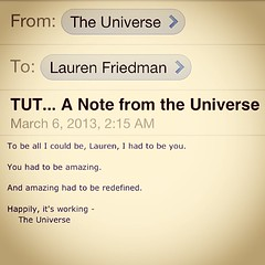 Great note from the Universe today, on speakin...