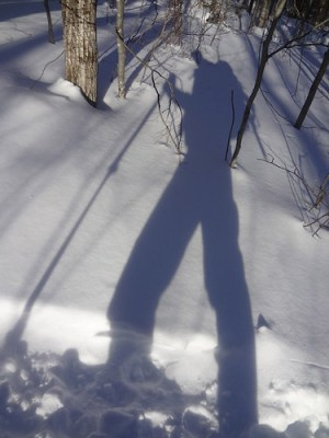 Winter Hiking Shadow on Mt. Madison Valley Way Trail