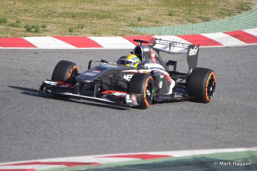 Esteban Gutierrez in his Sauber at Formula One Winter Testing, March 2013