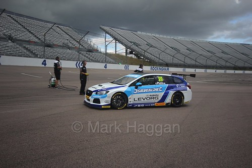 Jason Plato heads to the grid at Rockingham, August 2016