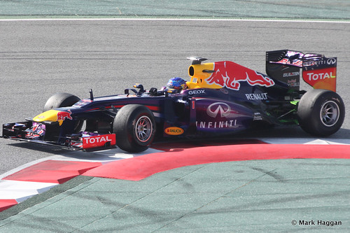 Sebastian Vettel in his Red Bull at Formula One Winter Testing 2013