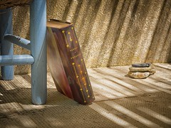 Still life of chair and book, detail