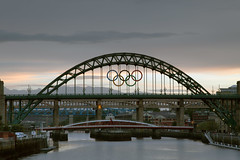 Tyne Bridge with Olympic Rings - Original
