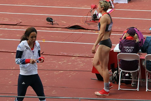 Katarina Johnson Thompson of Team GB in the long jump during the heptathlon at the London 2012 Olympics