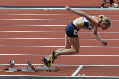 Eilidh Child of Team GB starts the 400m hurdles at the London 2012 Olympics