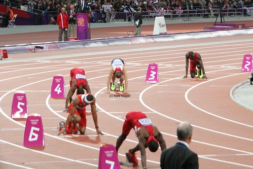 Dai Greene of Team GB, Felix Sanchez, Michael Tinsley  and Javier Culson get ready to start the 400m hurdles finals at the London 2012 Olympics