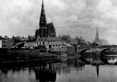 """The River Irvine, the Water Bridge, Trinity Church, Irvine Old Parish Church and the foot of Bridgegate  circa 1898 • <a style=""""font-size:0.8em;"""" href=""""http://www.flickr.com/photos/36664261@N05/8005385133/"""" target=""""_blank"""">View on Flickr</a>"""