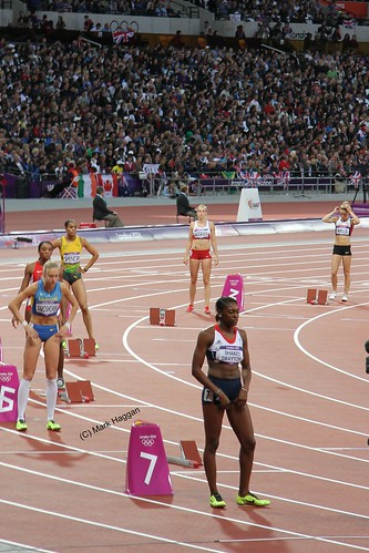 Perri Shakes-Drayton from Team GB prepares to start the 400m hurdles heats at the London 2012 Olympics