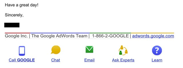 Google Adwords Support Email Signature