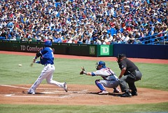 Bautista connects for a single. by james_in_to, on Flickr