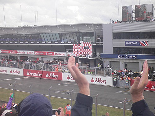 Lewis Hamilton gets out of his car after winning the 2008 British Grand Prix