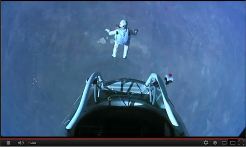 The moment of the jump by FELIX BAUMGARTNER