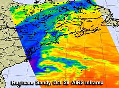 NASA Infrared Image Shows Sandy's Center Neari...