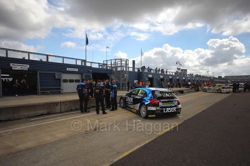 Aiden Moffat in the pit lane at Rockingham, August 2016