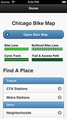 Homepage in Chicago Bike Map app, v0.5