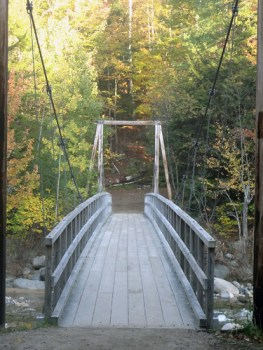 A Suspension Bridge Crossing the East Branch of the Pemigewasset Wilderness on the Lincoln Woods Trail