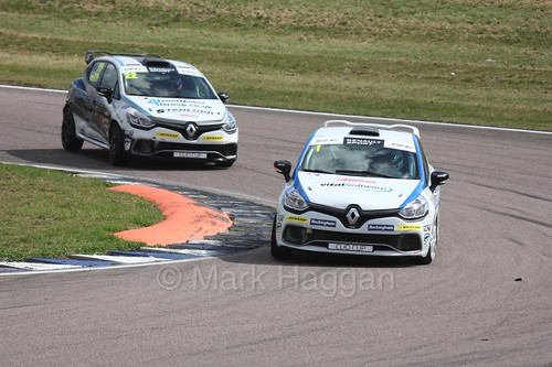 Mike Bushell leads Paul Rivett at Rockingham during the Clio Cup, August 2016