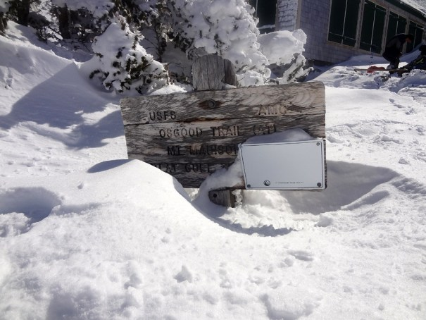 Osgood Trail Sign in Winter near Madison Hut