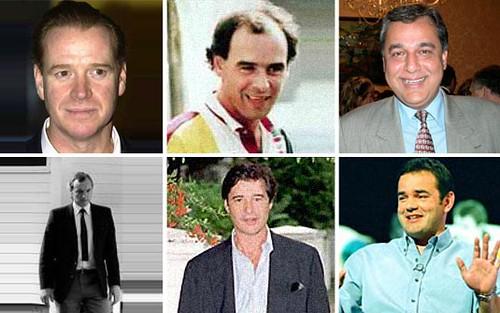 Os amantes da princesa Diana, no sentido horário a partir da esquerda e no alto, James Hewitt, James Gilbey, Hasnat Khan, Barry Mannakee, Oliver Hoare e Will Carling