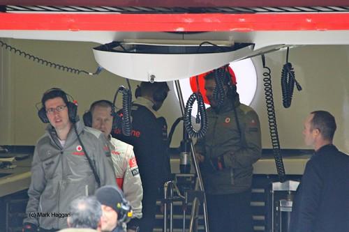 Inside the McLaren garage at Formula One Winter Testing 2013