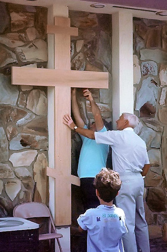 """Parishioners Working on Cross • <a style=""""font-size:0.8em;"""" href=""""http://www.flickr.com/photos/72479515@N06/8544731018/"""" target=""""_blank"""">View on Flickr</a>"""