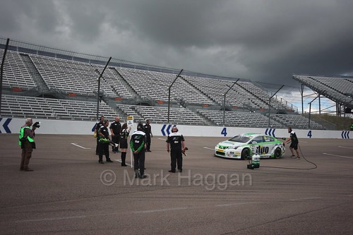 Rob Austin heads onto the grid at Rockingham, August 2016